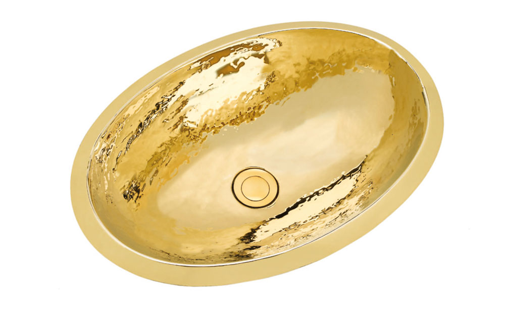 Oval förgylld handknackad fransk vask