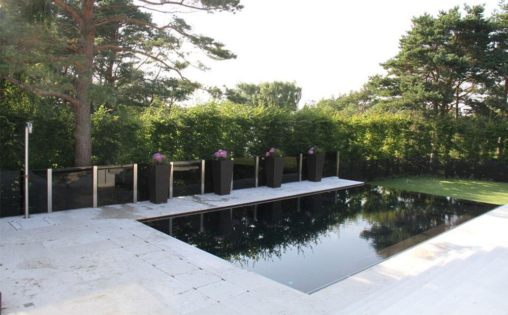 Fransk ljus kalksten runt pool
