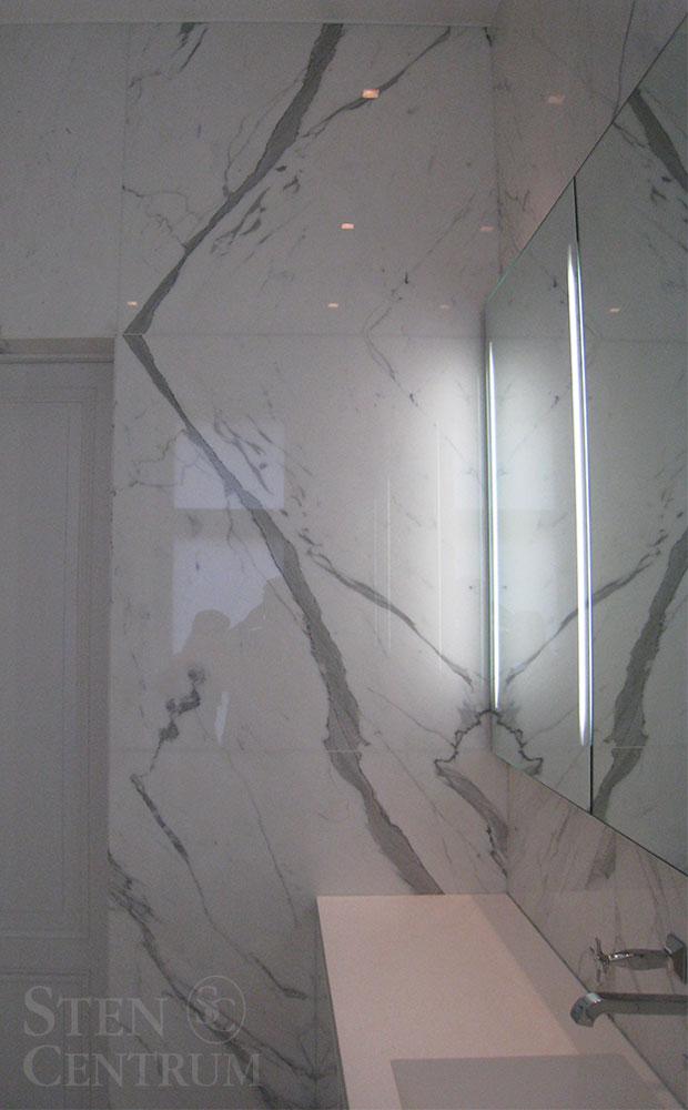 Badrum med vit Statuariomarmor med åderföljning på vägg